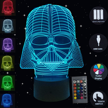 цена на Led Night Lamp Star Wars Darth Vader Mask 3D Table Lamp Desk 10 LED Touch Night Lights USB 7 Colors Glowing Birthday Gifts