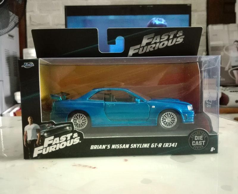 BRIAN/'S NISSAN SKYLINE GT-R R34 BLUE FAST /& FURIOUS MOVIE 1//32 BY JADA 97185