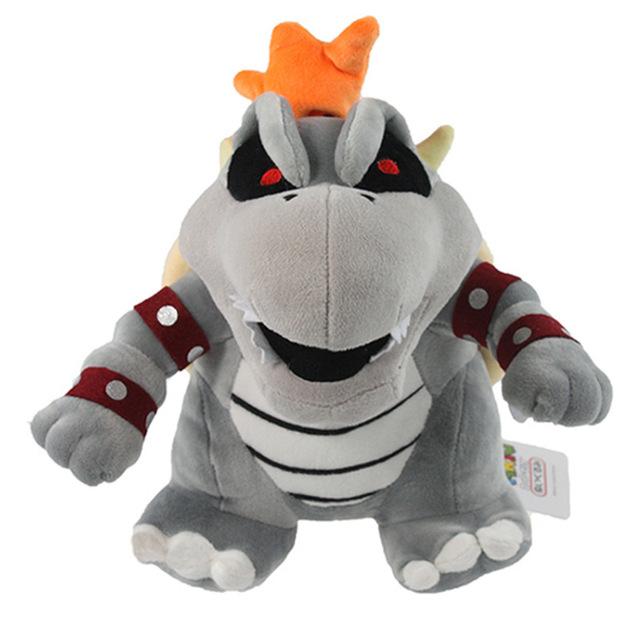 25 cm Super Mario juguetes de peluche gris kuba muñeca Koopa Bowser dragón bowser de Los Hermanos al por menor soporte de Juguetes de Peluche de navidad regalo