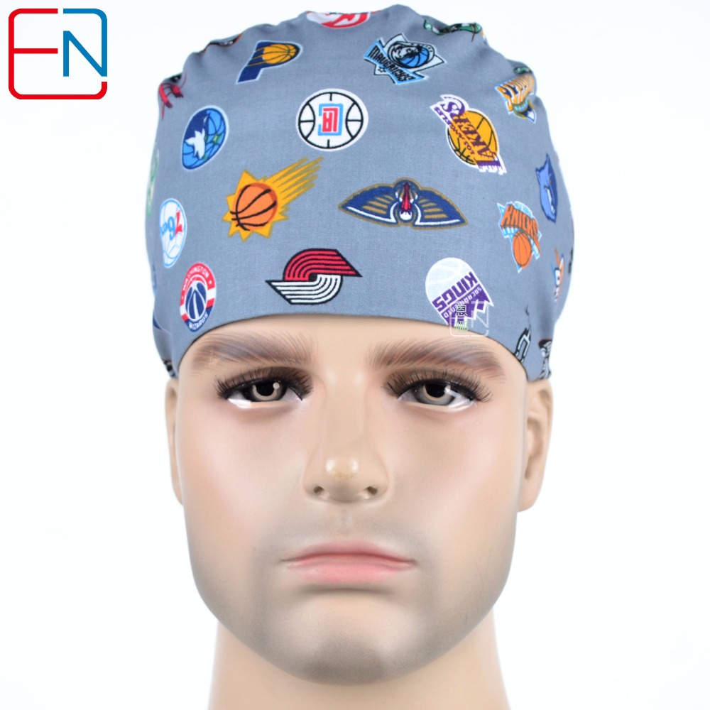 Hennar Men Surgical Caps Masks Cotton Hospital Clinical Medical Hats Print Adjustable Section Men's Surgical Caps Mask Limited