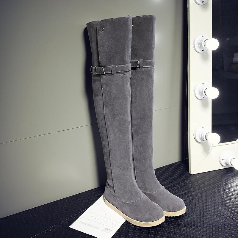 2018 Tamaño Botas 43 Faux Mujer Negro Slim Sexy Boots gris Redonda Zapatos Moda Muslo Grande Alta Mujeres Sobre Punta 34 Rodilla Suede marrón Invierno La qUAfpxwTq