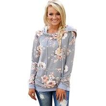 2019 Autumn Winter New Womens Hoodies Long Sleeve Sweatshirt Women Hooded Floral Print Casual Slim Ladies Pullover Female Tops