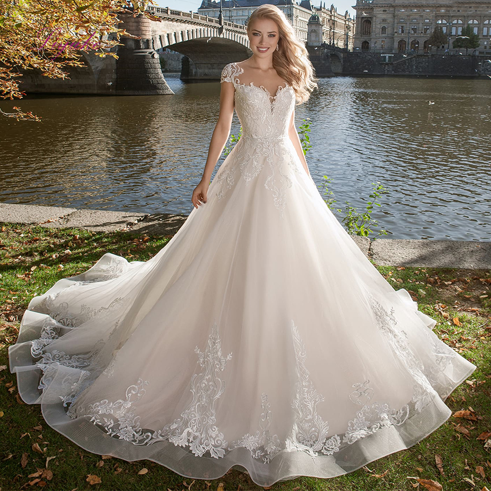 Liyuke 2019 Married A-line Wedding Dress Lace Up Appliques Cap Sleeves Scoop Neck Customized Floor-length