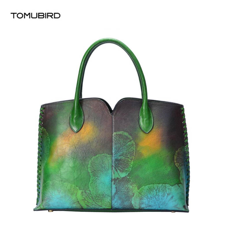 TOMUBIRD 2018 new Cowhide genuine leather women Embossing Leather art bag schoudertas dames tote women genuine leather handbags ladylike women s tote bag with solid color and daisy embossing design