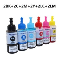 XIMO Water based Dye Ink Non OEM Set of 12 Refill Ink Kit 70ml For Epson L800 L801 Printer Ink Cartridge No. T6731/2/3/4/5/6
