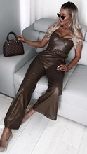 New Celebrity High Quality Slip Army Green Leather Loose Jumpsuit Evening Party