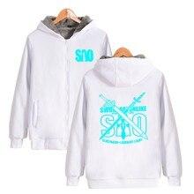 ALIZAZA Anime SAO Hoodies Lumious Zipper Sweatshirts Character Hoodie Coat Jacket MEN Top Clothing for Spring & Autumn thicken