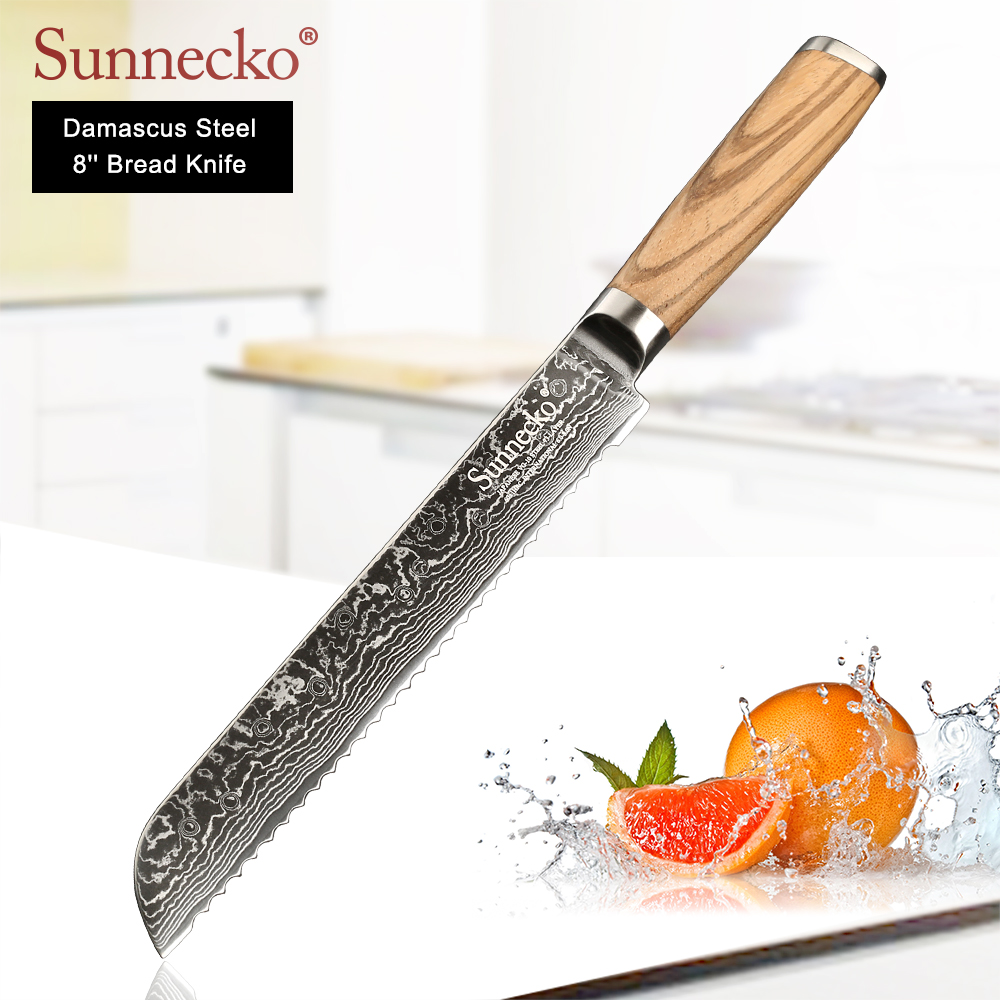 SUNNECKO Professional 8 inch Bread Knives 73 Layers Damascus Steel Japanese VG10 Sharp Blade Kitchen Knife Original Wood Handle-in Kitchen Knives from Home & Garden    1
