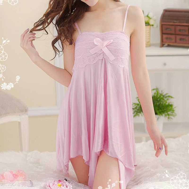 Kadınlar seksi dantel ilmek uyku elbiseler iç çamaşırı ipek gecelikler kadın gece elbisesi sapan pijama gece elbisesi 4 renk