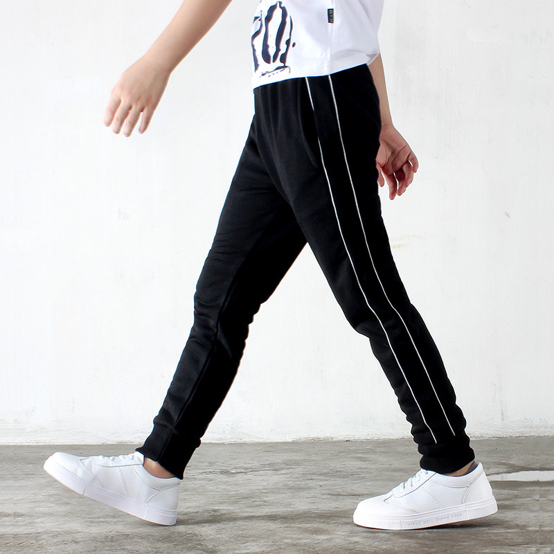 Boys trousers 2019 spring and autumn new children 39 s sports pants cotton casual trousers striped stitching pants 4 14 years in Pants from Mother amp Kids