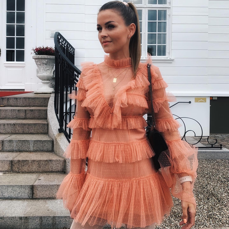 KHALEE YOSE haute qualité Mini robe Sexy maille dentelle robes femmes à manches longues col montant à volants garniture pure robe de piste