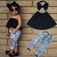 Sommer Platzt Kinderkleidung Mädchen Unruhig Große Brechen Jeans Baby Mädchen Cowboy Kinder Anzüge weste + Hosen