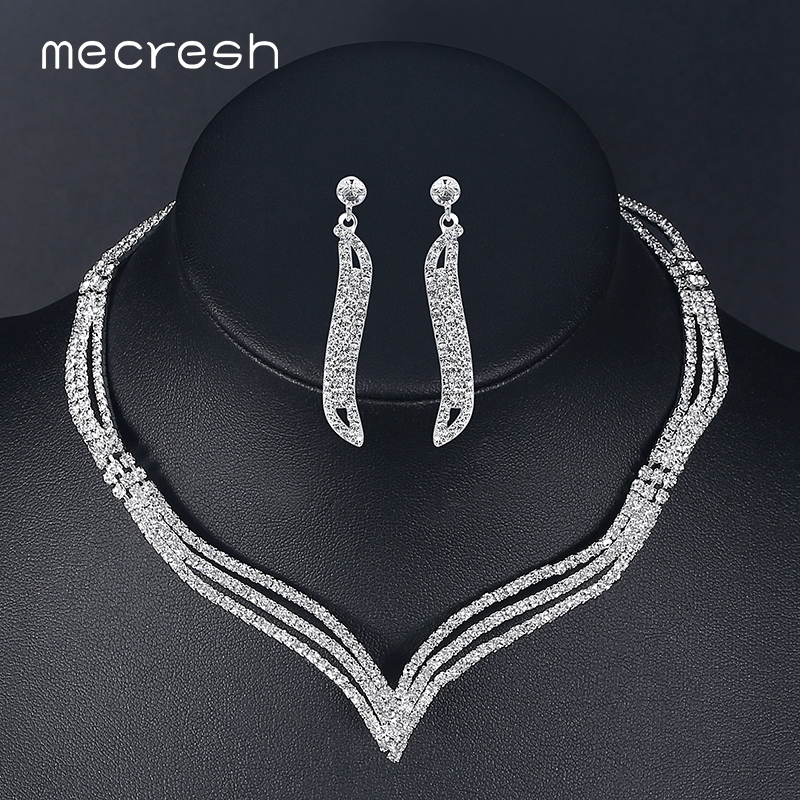 Mecresh Necklace-Sets Earrings Bridal-Jewelry-Sets Wedding-Accessories Crystal Rhinestone