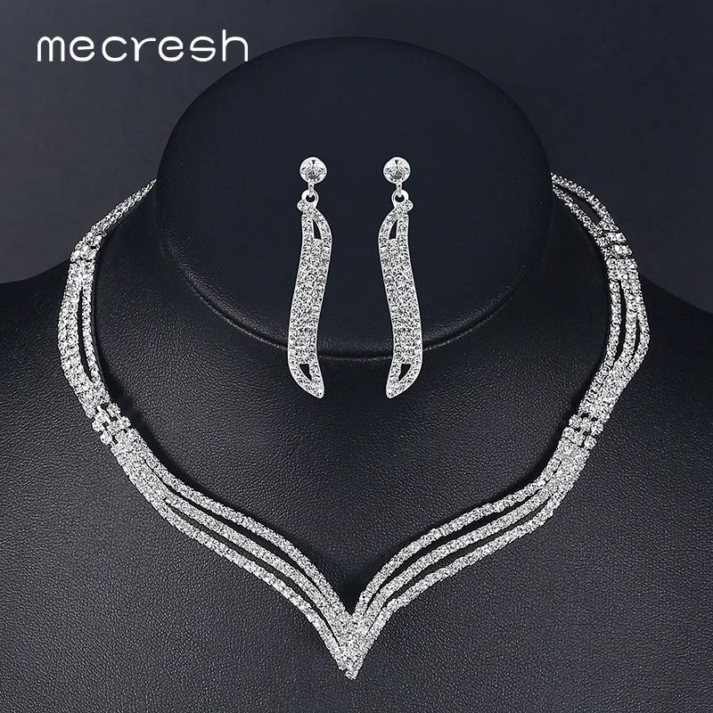 Mecresh простые Кристальные Свадебные Ювелирные наборы серебряного цвета стразы серьги ожерелье наборы для женщин Свадебные аксессуары TL296