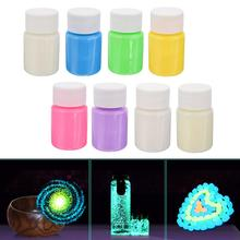 1 Set 8 Color 20g Glow in the Dark Pigment Luminous Acrylic DIY Bright Noctilucent Paint for Star Wishing Bottle Decoration