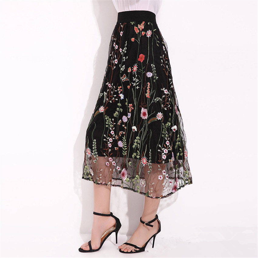 2019 Fashion Embroidered Women 39 s Long Black Tulle Skirt Plus Size Midi Skirt Maxi Summer Beach Boho Gothic Skirt Faldas Saia in Skirts from Women 39 s Clothing