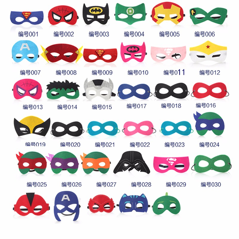 superhero masks Felt Christmas Halloween mask gift  Spider Man Iron Man Batman simple Masks for kids Child