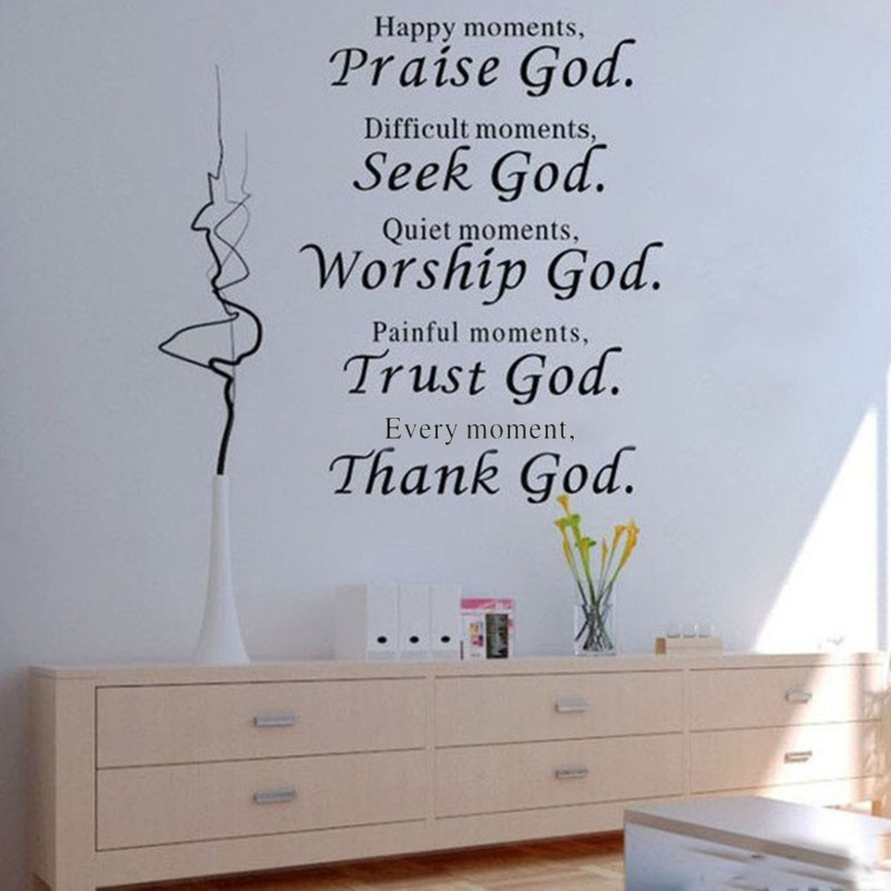 Bible Verse Every Moment Thank God Wall Quote Sticker Living Room,  Religious Wall Stickers Home Decor In Wall Stickers From Home U0026 Garden On  Aliexpress.com ...