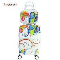 Cartoon Luggage Set Female Universal Wheels Trolley Suitcase Travel Bag Password Box Child Leather Case