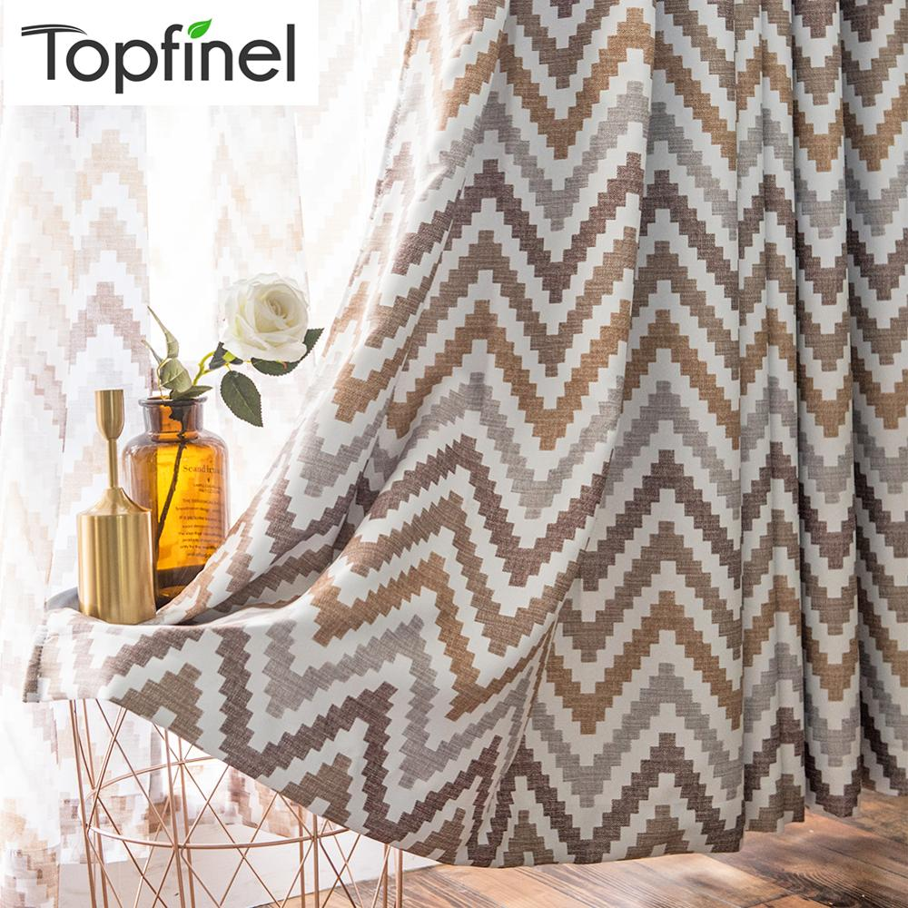Topfinel Geometric Wave Printed Thermal Insulated Blackout Window Treatment Drapes Curtains For Living Room Bedroom Coffee Blue(China)