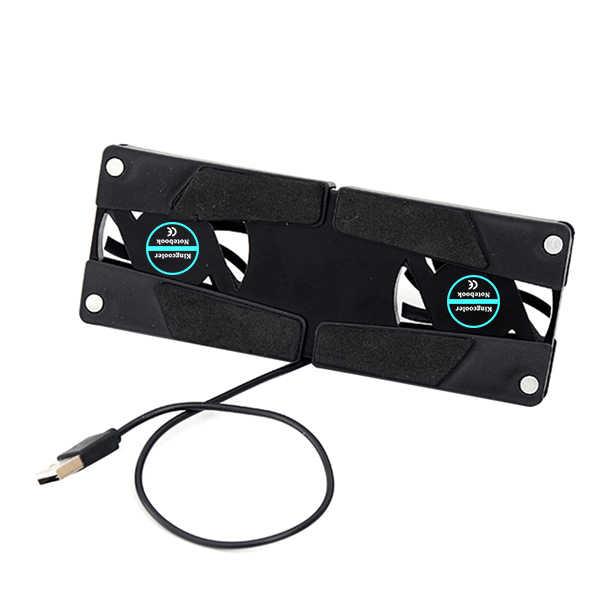 NOYOKERE Rotatable USB พัดลมแล็ปท็อปโน้ตบุ๊ค PC 2 พัดลม Cooler Cooling Pad อุปกรณ์ต่อพ่วงคอมพิวเตอร์ Black