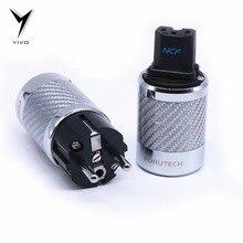 YIVO FI 50 & FI50M לבן שחור פחמן סיבי רודיום מצופה טהור נחושת AC כוח חשמל זכר נקבה מחבר IEC איחוד אירופי אירו תקע