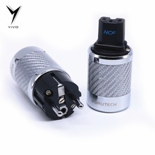 YIVO FI 50&FI50M White Black Carbon Fiber Rhodium Plated pure copper AC Power Electrical Male female connector IEC EU Euro Plug