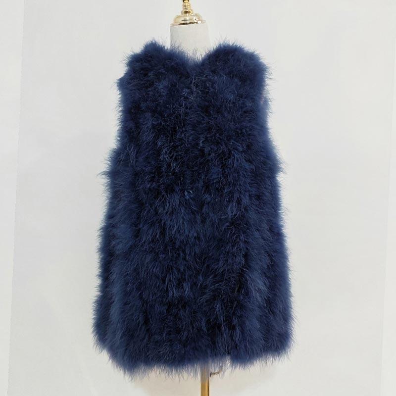 Новинка, жилет из страусиного волоса 70 см, длинная шапка, маленькая, свежая,, индейка, пуховая жилетка, натуральное меховое пальто, зашифрованное, ручное плетение - Цвет: as picture 11