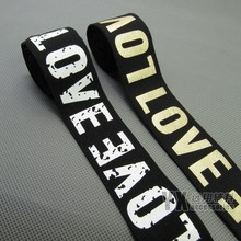 aeaa5958a soft nylon elastic bands webbing with logo LOVE print words elastic for bags  garment clothing belt 38mm 5meters diy accessories
