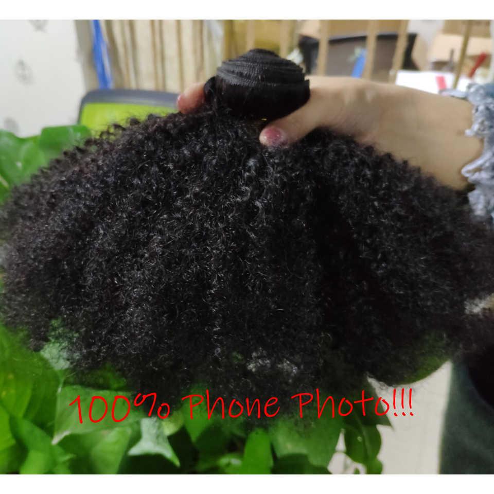 Mongolischen Afro Verworrenes Lockiges Haar Weben 3 Bundles Deal Mit Verschluss Natürliche Farbe 8-20 zoll 100% Remy Menschlichen haar Verlängerung Jarin