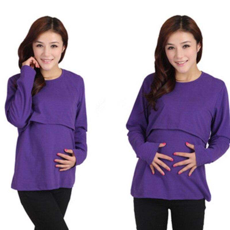 Весенне-осенняя одежда для беременных Одежда для кормления футболка с длинными рукавами - Цвет: purple