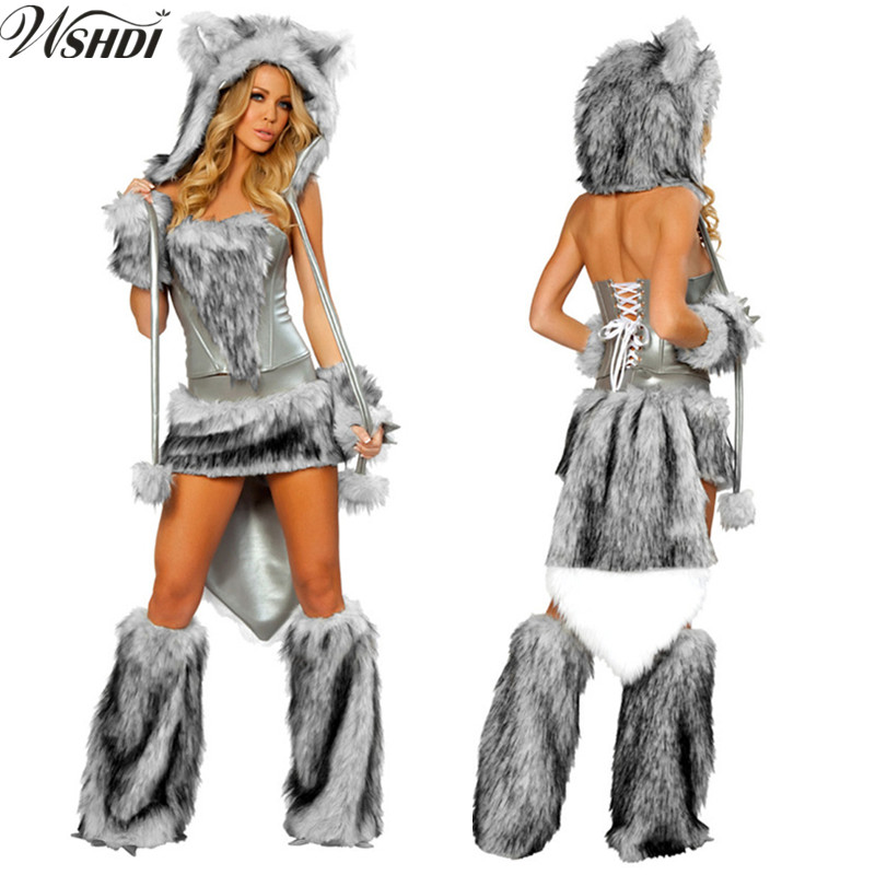 Adult Women's Halloween Party Wolf Girl Costumes Outfit Furry Animal Cosplay Fancy Dress With Plush Leg Warmers Set