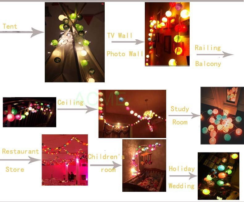 20 Cotton BALLs Lights Guirlande lumineuse Christmas LED String
