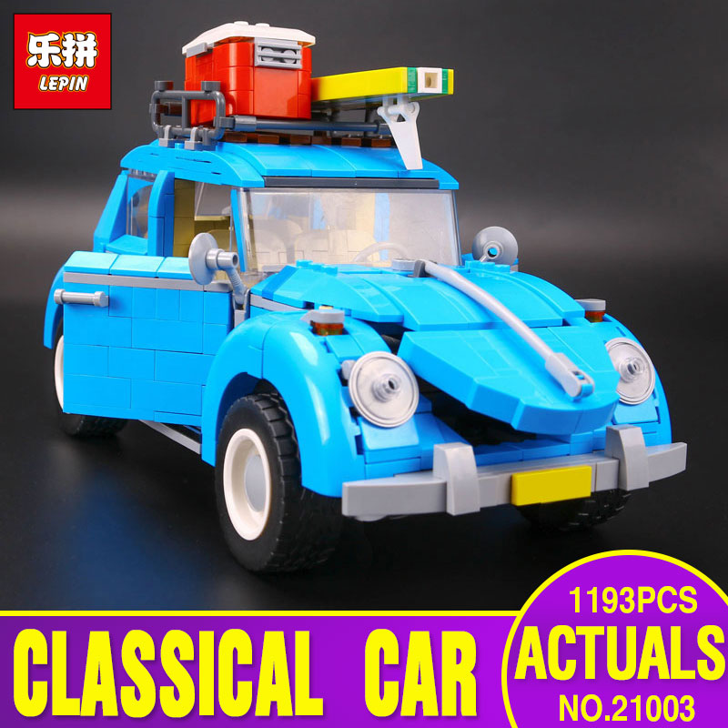 New LEPIN 21003 Series City Car Beetle model Educational Building Blocks Compatible With 10252 Blue Technic children toy gifts city series helicopter surveillance building blocks policeman models toys children boy gifts compatible with legoeinglys 26017