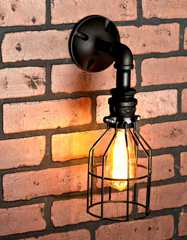 Vintage Nostalgic Industrial Water Pipe Cage Edison Wall Sconce Lamp Restaurant Hotel Bar Stair Home Decor Modern Lighting