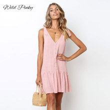 WildPinky 2019 New Fashion Women Summer Dresses Strap Female Clothes Sleeveless Beach Dress V-neck Buttons Draped Solid