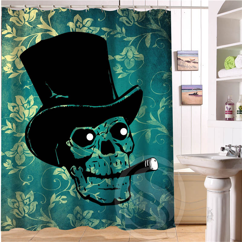 New arrive Custom skull Shower Curtain Polyester Fabric Custom Bathroom Curtain with Hooks printed shower curtains