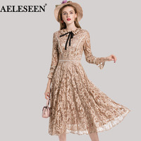Fashion Runway Newest Women Lace Dresses High Quality 3 4 Flare Sleeve 2018 A Line Princess