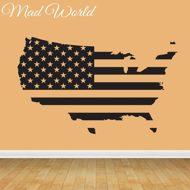 mad world map of america flag wall art stickers decal home diy decoration wall mural
