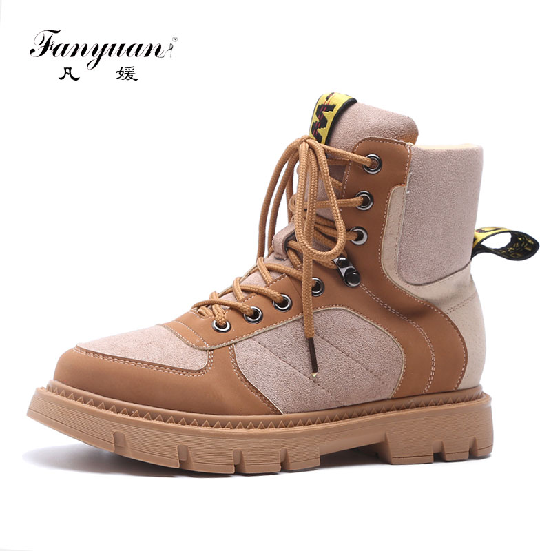 Fanyuan women autumn boots zapatos mujer ladies Mixed Colors Cross tied martin boots Cow Leather Flat Platform ankle boots