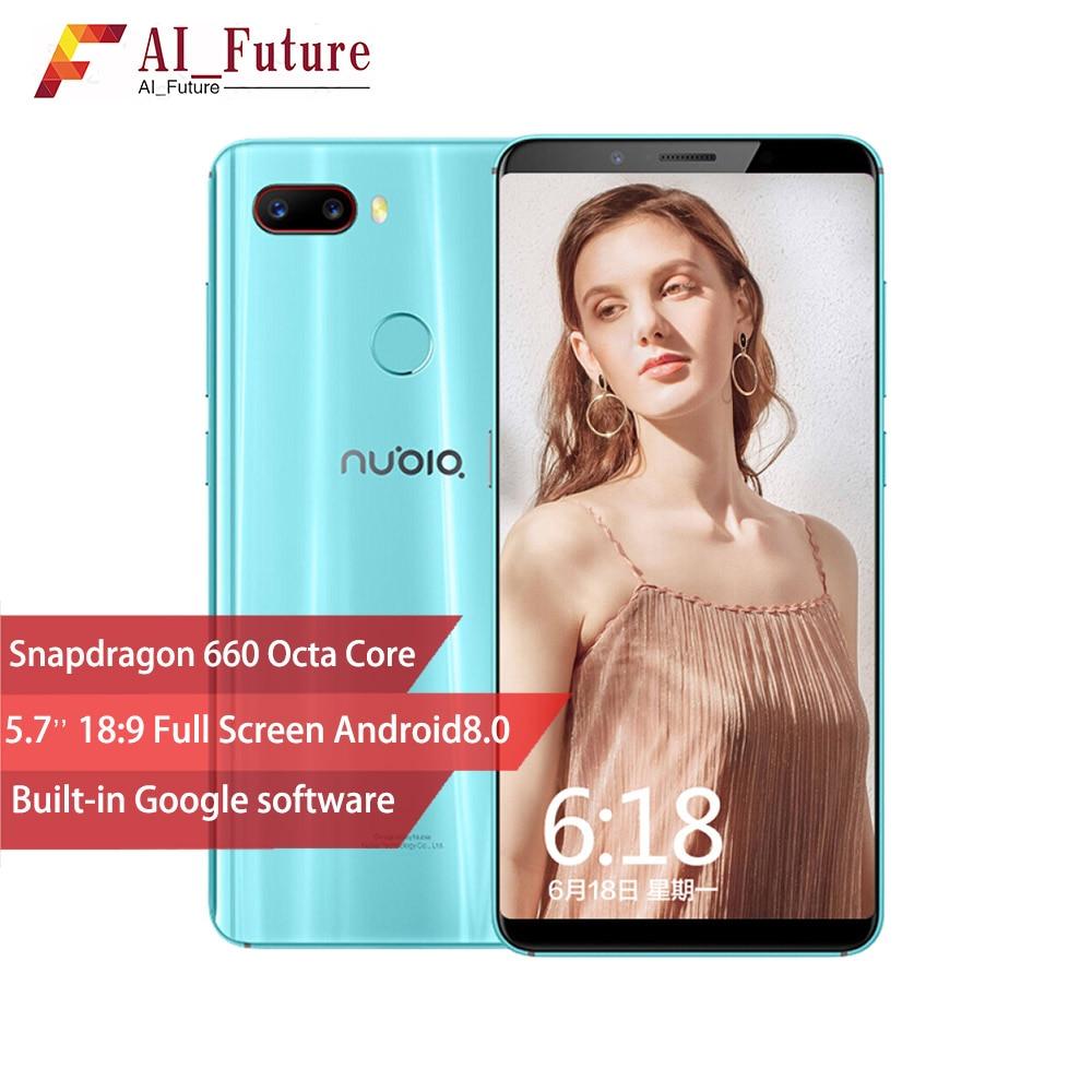 ZTE Nubia Z18 mini Android 8.1.0 6G RAM 64 ROM téléphone portable Snapdrogon 660 AIE 5.7 Pouces Plein Écran D'empreintes Digitales 4 4GLTE Smartphone