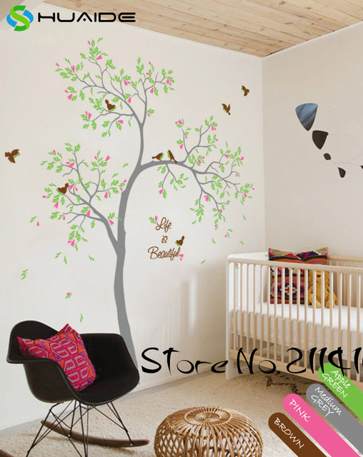 printemps arbre stickers muraux vie est belle grand arbre mur autocollants pour chambre d. Black Bedroom Furniture Sets. Home Design Ideas