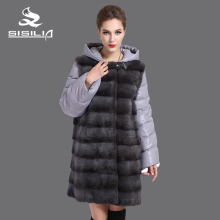 SISILIA New Style Ladies'  Mink Coats  Genuine Leather Mink Fur Coat  Detachable Down Jacket Sleeves Fashion Mink  Winter Coats