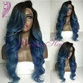 High Quality Cheap Ombre Blue Wig Body Wave Heat Resistant Hair Lace Front Wigs Synthetic Wigs For Black Women Free Shipping