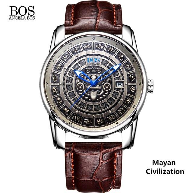ANGELA BOS Retro 3D Maya Calendar Dial Stainless Steel Automatic Mechanical Watch Men Luminous Mens Watches Top Brand Luxury