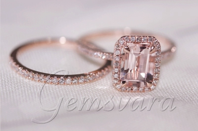 2 Rings Solid 14k Rose Gold Morganite Wedding Bands Engagement Ring Gemstone Diamond Jewelry