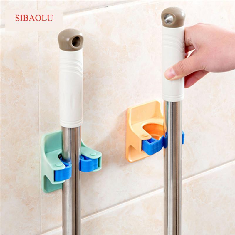 2pcs/lot Home Clip Mop Hooks No Trace Mop Holder Bathroom Rack