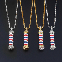 Fashion Jewelry Gold&Silver Barber Shop Poland 3D Pole Necklace 2 Style Hiphop Haircut Gothic Necklaces for men