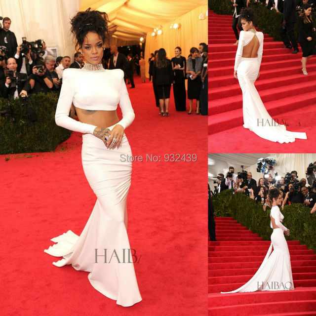 Two Piece Red Carpet Dress Mermaid Celebrity Gowns With High Neck ...