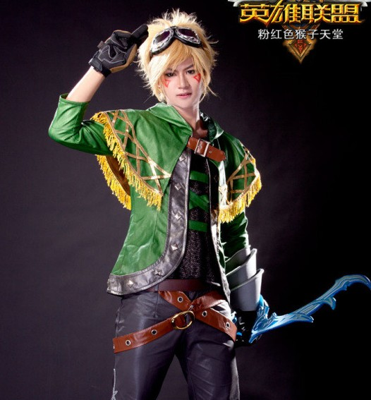 Hallowmas Christmas Game Anime LOL skin Spirit of adventure Ezreal Cosplay costume jacket+shawl+bracers+belt+gloves+wigs NEW